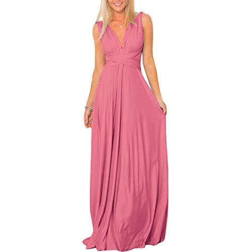 IBTOM CASTLE Damen Sexy Umwandlungs-Transformator für Cocktails, Schultern, Hochzeit, Brautjungfer, Abendkleid, Lange Maxikleid, Bodenlänge, Festzug, Abschlussball Gr. X-Large, rosa - Dusty pink -