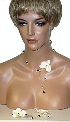 Parure orchidée 2 marron et ivoire. Bijoux mariage. Parure mariée