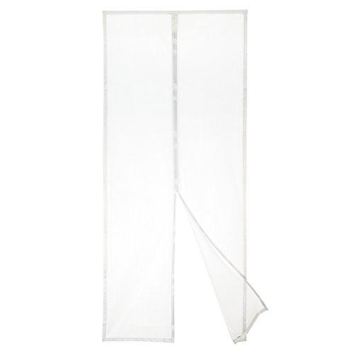 Apalus Magnet Fliegengitter Tür Insektenschutz 90x210cm, Der Magnetvorhang ist Ideal für die Balkontür, Kellertür Und Terrassentür, Kinderleichte Klebemontage Ohne Bohren (Nicht Kürzbar) (Weiß)