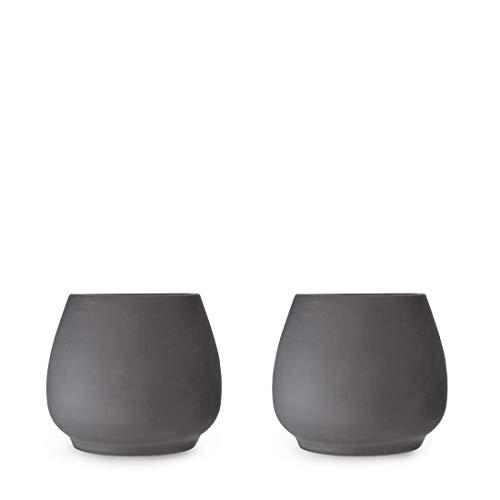 Viva Scandinavia 9102113 Nicola Set de 2 Tasses à Expresso Porcelaine Gris Anthracite 14 x 14 x 7,5 cm 18 cl
