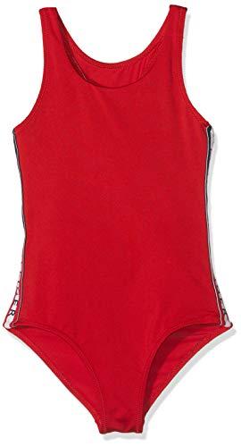 Tommy Hilfiger Mädchen Bügelloser Badeanzug SWIMSUIT, Rot (Tango Red 611), 140 (Herstellergröße: 8-10)