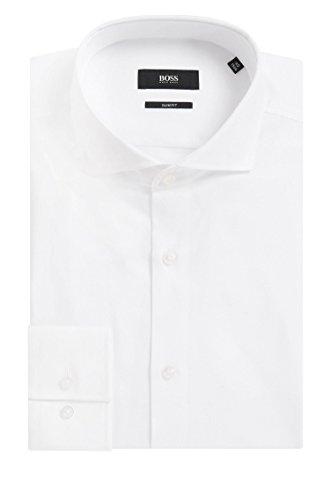 BOSS Herren Hemd Jason Weiß 39 - Herren-cutaway-kragen-shirt