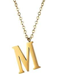 PROSTEEL - Colgante de Letra A-Z Colgante para Mujer Hombre de Acero Inoxidable Chapado en Oro de 18K