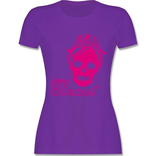 JGA Junggesellinnenabschied - Braut Totenkopf Vintage - tailliertes Premium T-Shirt mit Rundhalsausschnitt für Damen Lila