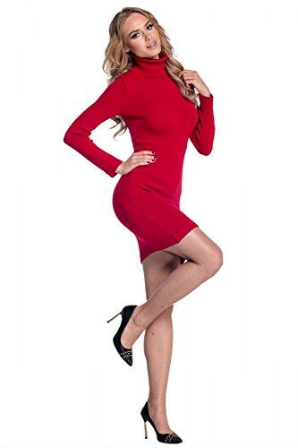 Glamour Empire. Donna Vestito aderente lavorato a maglia collo alto. 888 Rosso