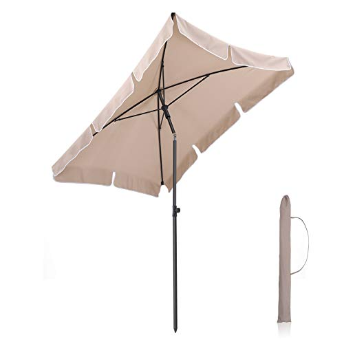 Songmics 2 x 1,25 m ombrellone da giardino rettangolare, parasole da esterno, copertura in poliestere, con borsa da trasporto, per giardino balcone terrazzo, taupe gpu25br (base non inclusa)