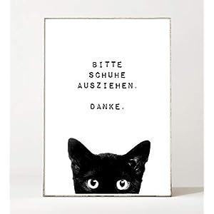 DIN A4 Kunstdruck Poster BITTE SCHUHE AUSZIEHEN -ungerahmt- Typografie, Spruch, Flur, Eingangsbereich, Katze