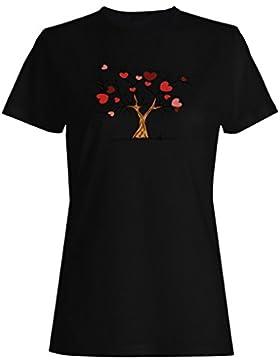Nuevo Amor Corazones Valentine Árbol camiseta de las mujeres h779f