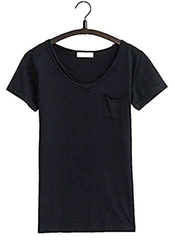 WmcyWell Women's Comfort Loose V-Neck Short Sleeve T-Shirt Solid Tee Tops 14, Black