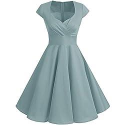 Bbonlinedress Vestido Corto Mujer Retro A?os 50 Vintage Escote En Pico Grey XL