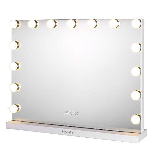 homfa Hollywood Miroir Maquillage avec LED lumineux réglable à Tocco Miroir de Table Miroir Rectangle lumineux pour le maquillage make up salle de bain blanche
