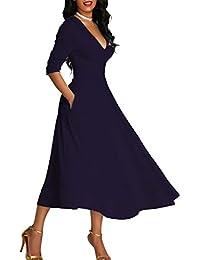 d3fd56a21e971 Bequemer Laden Robe Femme de Soirée Cocktail Vintage Élégant Robe Plissée  Mi-Longue à Col