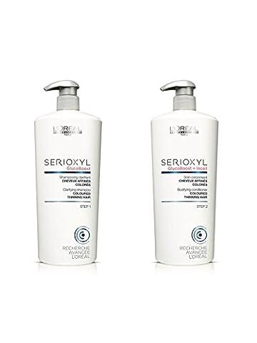 LOREAL serioxyl Haarausfall System Haarverdichtung Shampoo und Pflegespülung Salon Größe 1000ml Duo Pack mit Pumpen - Starter Kit Sistema