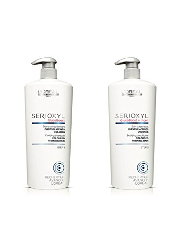 Loreal SERIOXYL Hair Loss System Thickening Shampoo and Conditioner Salon Size 1000ml Duo Pack with Pumps (Coloured Hair)