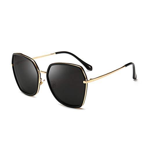 Thirteen Sonnenbrille-weiblicher Heller Großer Rahmen Polarisierter Großer Gesichts-treibender Spiegel, Anti-UVblendschutz, Verwendbar Für Dekorative Reise. (Color : Black)