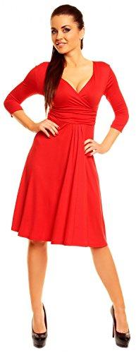 Zeta Ville - Robe Été - Robe Patineuse - Manches 3/4 - Robe de fête - Femme - 282z Rouge