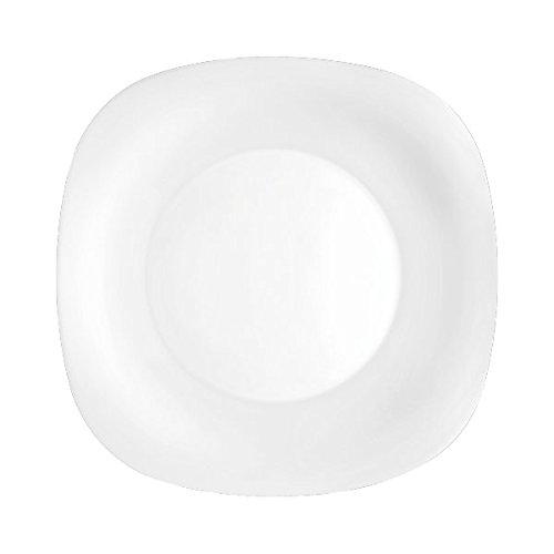 Bormioli Rocco Juego de vajilla de Cristal de ópalo Blanco Cuadrado de 18 Piezas Parma - 6 Platos de Comedor y Cuencos