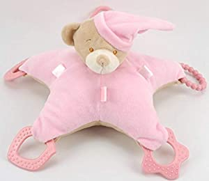 Duffi Baby- Peluche Osito y Mordedor, 100% Poliéster, Color Rosa (Master Baby Home, S.L. 0766-06)