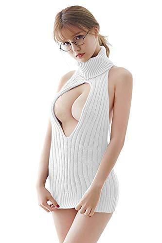 Olanstar Damen Sexy Backless Hollow Out One-Piece Pullover Anime Cosplay Jungfrau Killer Pullover Einteilige Bikini Knit Tank Top Weste