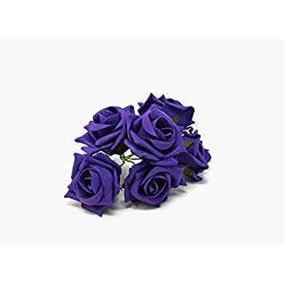 AFS 6 Head Foam Rose Bud Bunch 5cm Artificial Flower Wedding Bouquet Centrepiece (Purple)