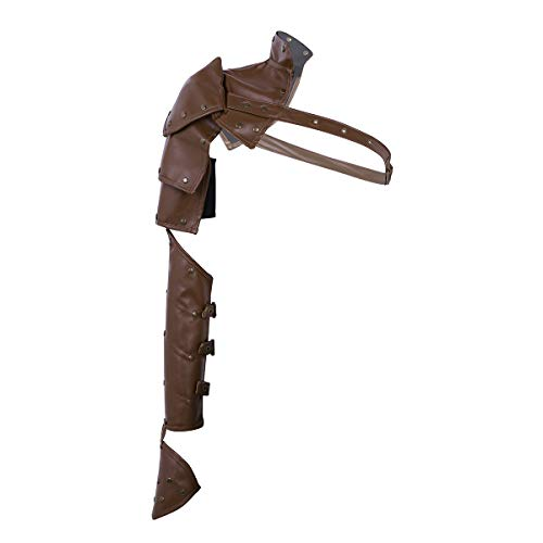 Rüstung Kostüm Brust - YOOJIA Punk Leder Armschutz Panzer Rüstung Armstulpe Gothic Schultergurt Brust Harness Schulterpolster Krieger Kostüm für Damen Herren Braun One Size
