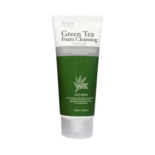 3W Clinic - Cleansing Foam - Gesichtsschaum mit Grünen Tee / Schneckenschleim / Coenzyme Q10 / Braunen Reis gegen unreine Haut für Frauen und Männer - Reinigungsschaum und Gele für das Gesicht - Für trockene, fettige und normale Haut / Mischhaut - Reinigungsmilch und Cremes für das Gesicht - Hautpflege - Tagespflege - Gesichtsmasken & Gesichtskuren (Green Tea) (Tee Limette Grüner)