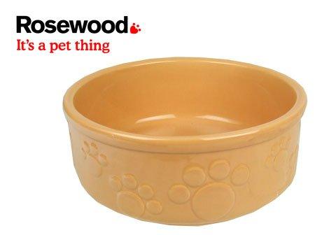 rosewood-chien-gamelle-en-gres-a-motif-pattes-en-relief-beige-18-cm