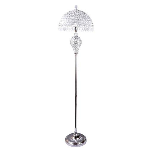 MMM- Stehlampe, europäischen Kristall Stehlampe Wohnzimmer Schlafzimmer luxuriöse Eisen Licht Körper Kristall Lampenschirm E27 Boden Typ Tischlampe (Größe: 26 * 150cm) (Farbe : Silber)