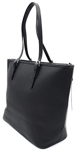 Damen Handtasche Schultertasche Shopper Uni Farbig Kunstleder A4 Format Schwarz