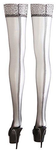 Cottelli Collection Stockings & Hosiery - halterlose Strümpfe mit Naht, erotische Strümpfe für Damen, Strümpfe mit silberfarbenem Abschluss, schwarz