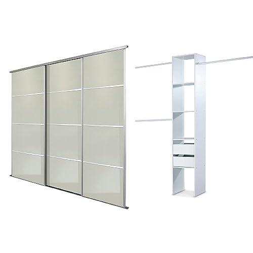 Sliding wardrobe doors amazon white lacquered glass silver framed triple 4 panel sliding wardrobe door kit up to 2235mm 7ft 4ins wide planetlyrics Gallery