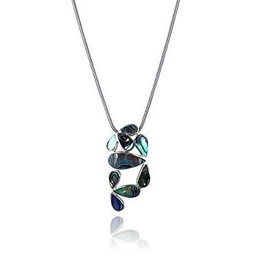 Idée cadeau-Pendentif de nacre abalone multicolore serti d'argent 925 K-Motif graphique floral
