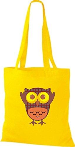 ShirtInStyle Jute Stoffbeutel Bunte Eule niedliche Tragetasche mit Punkte Karos streifen Owl Retro diverse Farbe, schwarz gelb