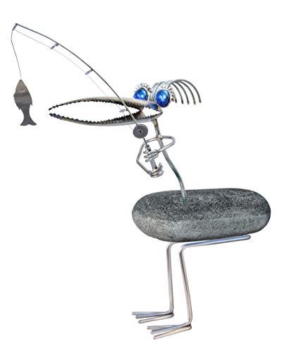 Toni Der Angler der Steinvogel mit Glasaugen. Gartenfigur als Deko aus Edelstahl und Natur-Stein. Wetterfest und rostfrei. Skulptur für Garten, Terasse, Balkon und Wohnung.
