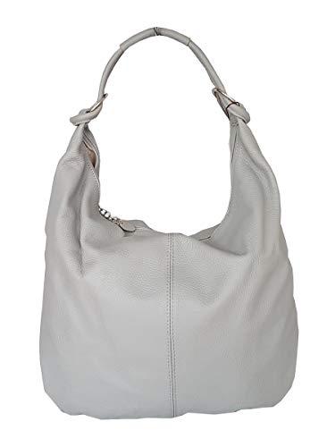 fashion-formel Leder Shopper Beuteltasche XXL DIN A4 in Grau Italy