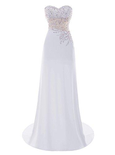 Fanciest Damen Beaded 2016 Lang Ball Kleider Abendkleider Formelle Kleider White White
