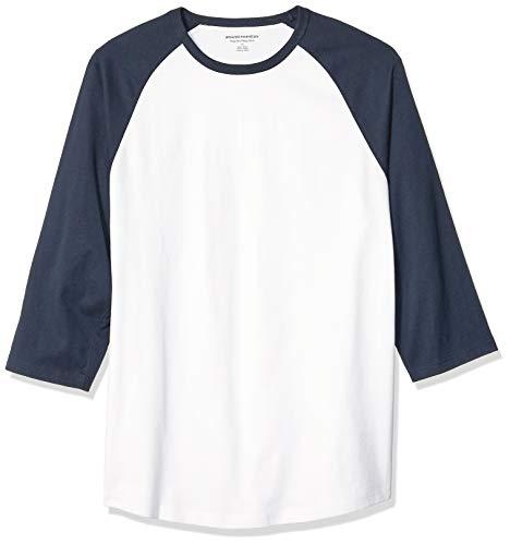 Amazon Essentials Regular-Fit 3/4 Sleeve Baseball novelty-t-shirts, Navy/White, US (EU XL-XXL) -