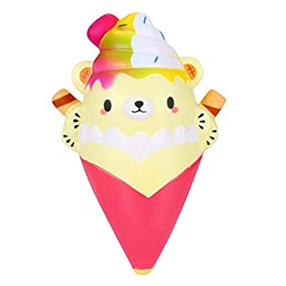 ADESHOP 2019 Toys for Baby, Kawaii Squishies Cartoon Ice Cream Bear Rising Cream Scented Stress Relief Toys(Hot Pink)