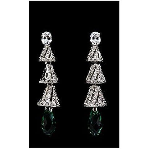 Orecchini montatura argento e goccia Briolette in cristallo Swarovski Elements - Swarovski Cristallo Briolette Orecchini