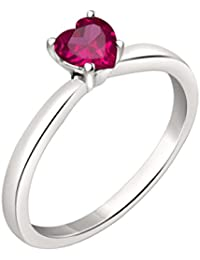 Silvernshine 7mm Heart Cut Ruby Solitaire Engagement Ring 4 Prong In 14K White Gold Plated