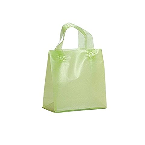 FROSTED PLASTIC BAGS WITH SOFT HANDLES - LIME BIO LOOP HANDLE BAG PACK OF 50