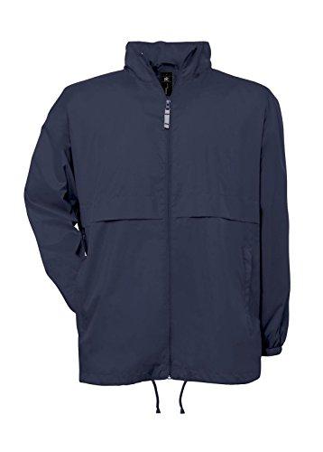 Giacca leggera uomo b&c k-way antivento impermeabile traspirante con cappuccio, colore: blu navy, taglia: xl