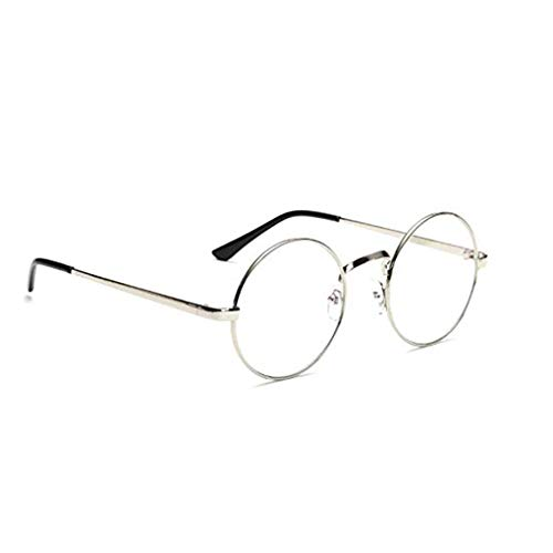 Jinzuke Unisex koreanische Weinlese-Brillen-runder Metallrahmen Brille-freies Objektiv-Augen-Glas-Zubehör