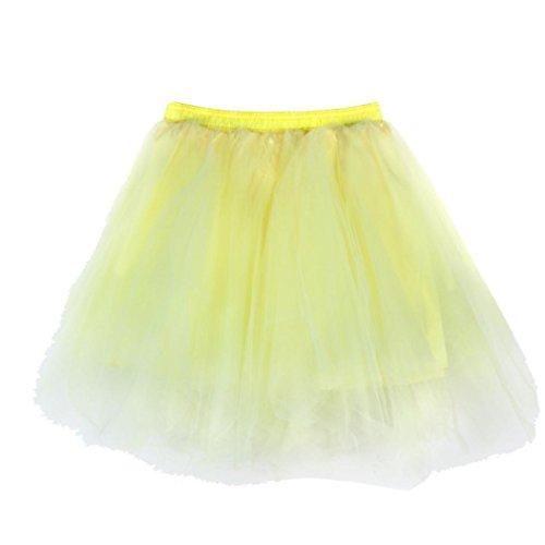 Damen 50s retro Petticoat knielang Reifrock Vintage underskirts gleitet Mädchen Mini Rock Petticoat Röcke Tutu Unterrock Erwachsene Classic Elastic, gelb, One Size