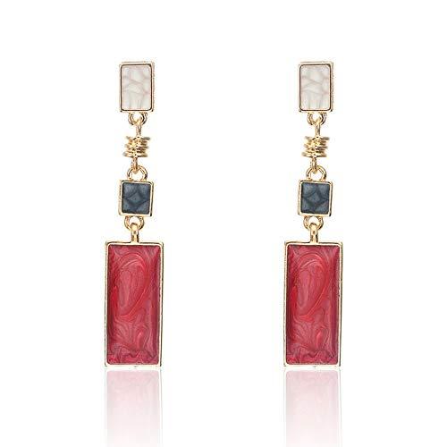 Zuxianwang orecchini orecchini boemi dichiarazione esagerata gioielli antichi metallo rosso square orecchini a pendente per le donne boho etnici orecchino femmina