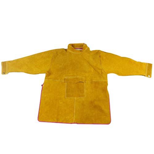 Almencla Schweißen Jacke Rindsleder Schweißen Schürze Sicherheit Werkstatt Schutz Schweißen Mantel Anzug Für Schweißer, Männer, Frauen, 32x2.6inch
