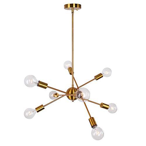 OYI Sputnik Kronleuchter 8-Flammig Modern Pendelleuchte Innen Hängelampe Metall Brass für Flur Wohnzimmer Esszimmer Restaurant Bar