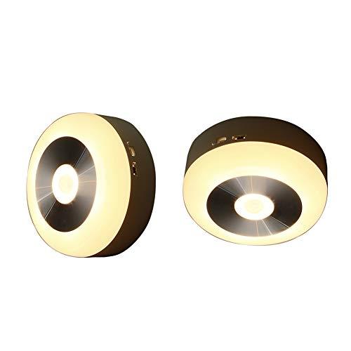 RQINW Einbauleuchte, LED-Nachtlicht, Unterbaubeleuchtung, Laden über USB, Wandnachtlampe Badezimmer, Küche, Flur, Treppe (warmes weißes Licht) 2er Pack