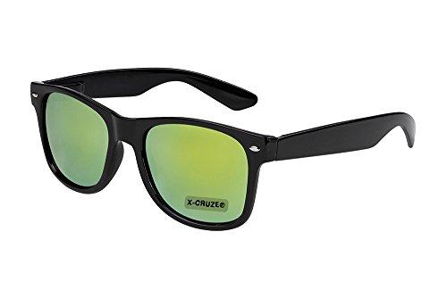 X-CRUZE® 8-030 X0 Nerd Sonnenbrille Retro Vintage Design Style Stil Unisex Herren Damen Männer Frauen Brille Nerdbrille - schwarz und grün-gelb verspiegelt