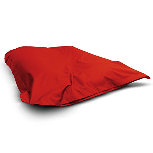 1buy3 Sitzsack Rot XXL 145cm x 180cm komplett befüllt | IN- und OUTDOOR | Waschbar da Sitzkissen mit Reißverschluss